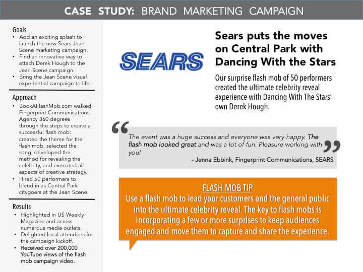 Sears Case Study with BookAFlashMob.com